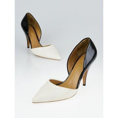 3.1 Phillip Lim White/Black Leather and Patent Leather d'Orsay Diamond Pumps size 6.5/37
