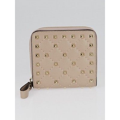 Valentino Taupe Leather and Rockstud Compact Wallet