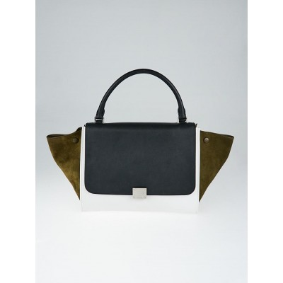Celine Olive Tricolor Smooth Leather and Suede Small Trapeze Bag