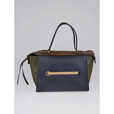 Celine Navy Blue Tri-Color Leather Small Ring Bag