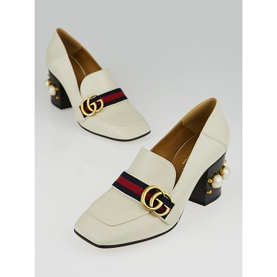Gucci White Leather Vintage Web Mid-Heel Loafers Size 6.5/37