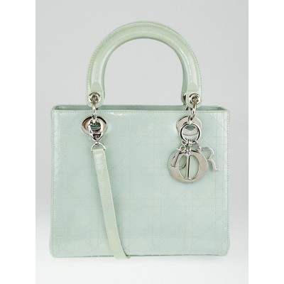 Christian Dior Mint Green Cannage Quilted Patent Leather Medium Lady Dior Bag