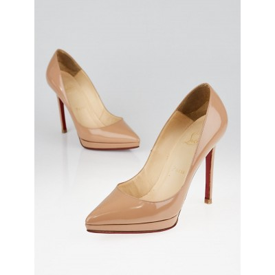 Christian Louboutin Beige Patent Leather Plato Pigalle 120 Pumps Size 6/36.5