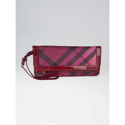 Burberry Raspberry Sorbet Supernova Check Coated Canvas Pop Degrade Wristlet Bag