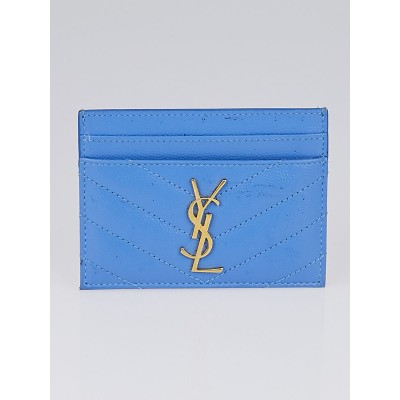 Yves Saint Laurent Blue Chevron Quilted Leather Card Holder