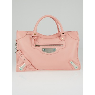Balenciaga Pink Calfskin Leather Metal Plate City Bag