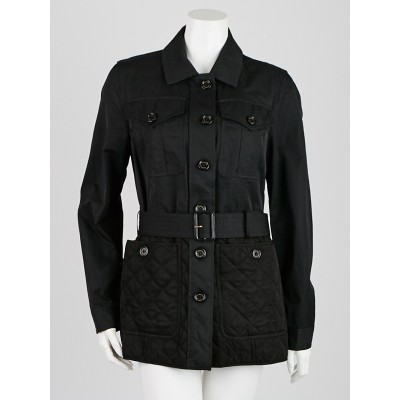 Burberry London Black Nylon Blend Jacket Size 8