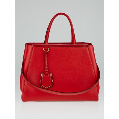 Fendi Red Vitello Leather Medium 2Jours Elite Tote Bag 8BH250