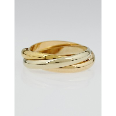 Cartier 18k Tri-Gold Trinity Small Ring Size 6/52