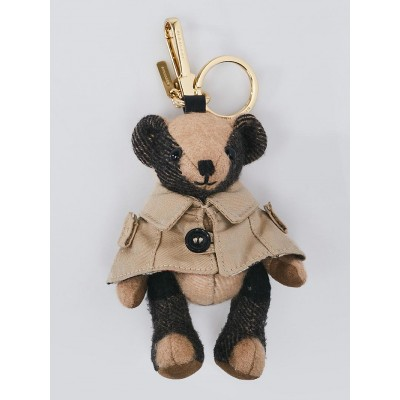 Burberry Camel Check Cashmere Trench Coat Thomas Bear Charm
