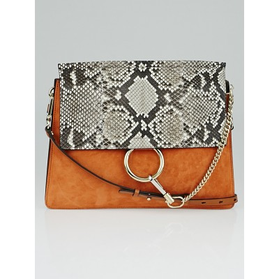 Chloe Tannish Red Suede and Brown Python Faye Bag