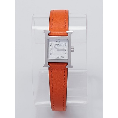 Hermes Orange Swift Leather Stainless Steel Heure H PM Quartz Watch