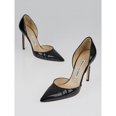 Manolo Blahnik Black Patent Leather Tayler d'Orsay Pumps Size 6/36.5