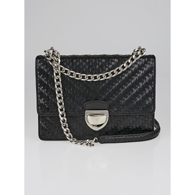 Prada Black Woven Leather Madras Chain Flap Bag 1BD038