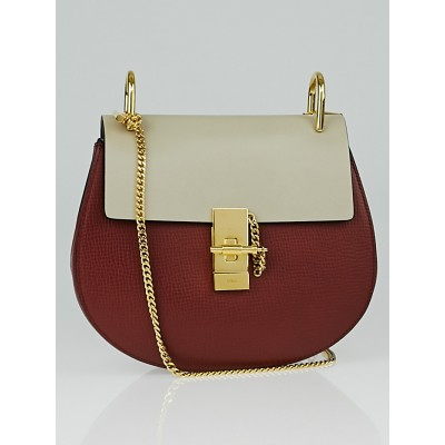 Chloe Sienna Red/Taupe Leather Small Drew Bag