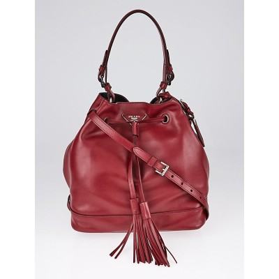 Prada Ruby Soft Calf Leather Cinch Bucket Bag 1BE069