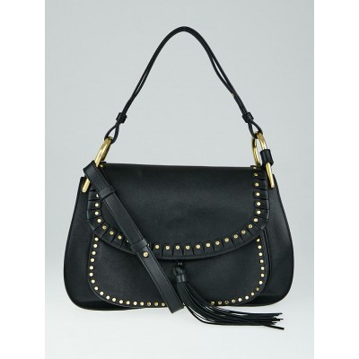 Chloe Black Leather Braided Leather Small Hudson Bag