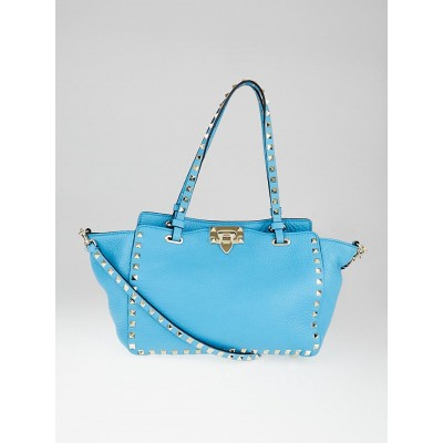 Valentino Blue Pebbled Leather Rockstud Small Trapeze Bag