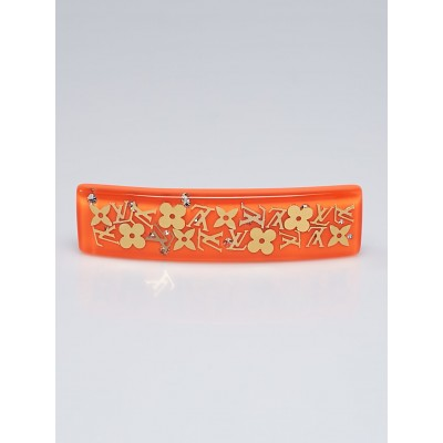 Louis Vuitton Orange Resin Monogram Inclusion Hair Clip
