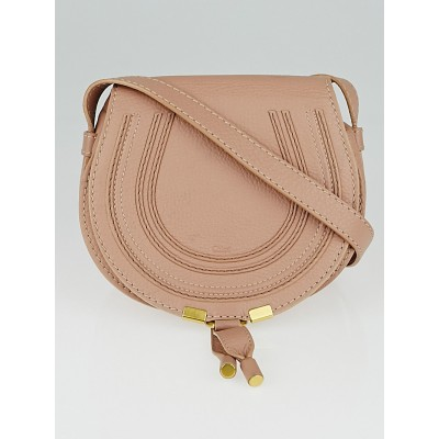 Chloe Pink Pebbled Leather Mini Marcie Crossbody Bag