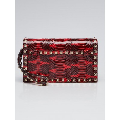 Valentino Red Animal Print Exotic Rockstud Clutch Bag