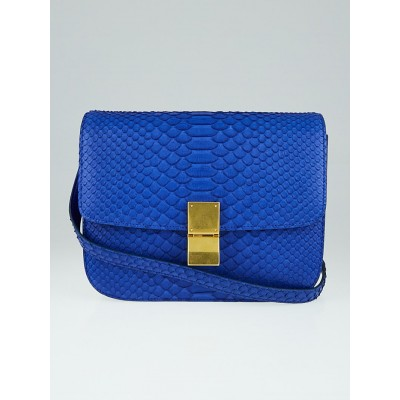 Celine Royal Blue Python Medium Classic Box Flap Bag