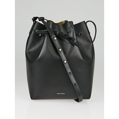 Mansur Gavriel Black Vegetable Leather Large Bucket Bag