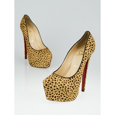 Christian Louboutin Leopard Print Pony Hair Daffodile 160 Pumps Size 7/37.5