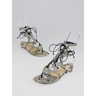 Christian Louboutin Brown/Grey Python Girafina Gladiator Flat Sandals Size 5.5/36