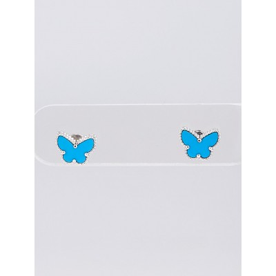 Van Cleef & Arpels 18k White Gold and Turquoise Sweet Butterfly Mini Ear Studs