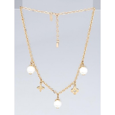 Louis Vuitton Goldtone Charmy Pearl Necklace