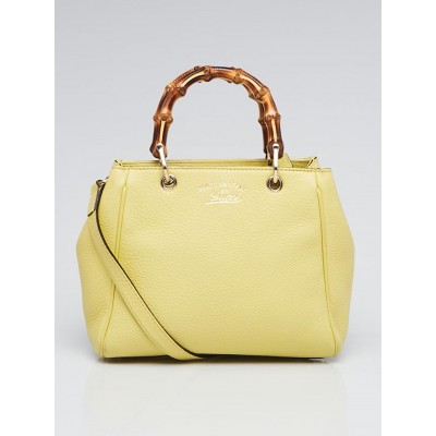 Gucci Yellow Pebbled Leather Bamboo Top Handle Mini Shopper Tote Bag