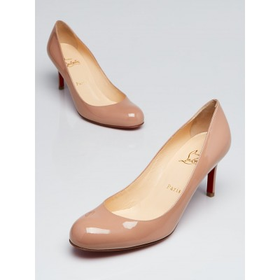 Christian Louboutin Nude Patent Leather Simple 70 Pumps Size 8.5/39