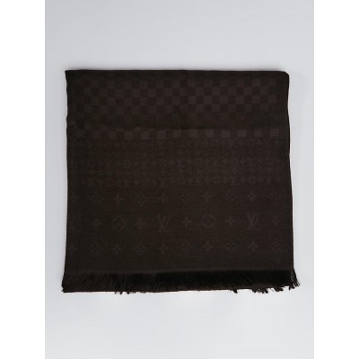 Louis Vuitton Brown Silk/Cashmere Blend Damier Monogram Scarf