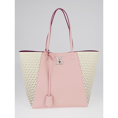 Louis Vuitton Pink Perforated Leather Monogram Flower Lockme Cabas Bag