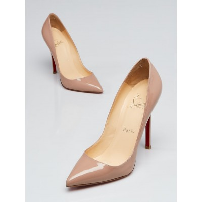 Christian Louboutin Nude Patent Leather Pigalle 120 Pumps Size 5/35.5