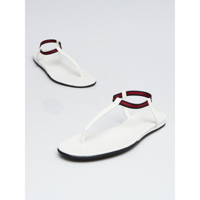 Gucci White Leather and Vintage Web Thong Sandals Size 8/38.5