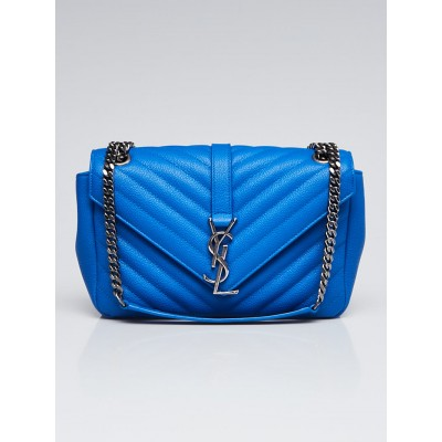 Yves Saint Laurent Blue Matelasse Leather Medium Envelope Bag