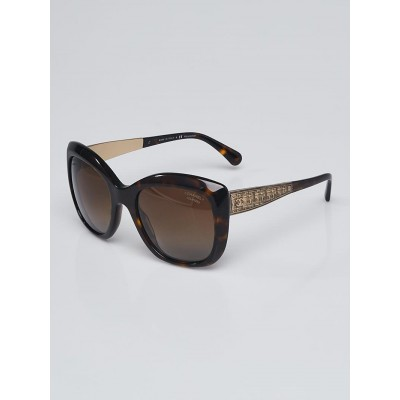 Chanel Tortoise Shell Acetate Oversized Square Metal Tweed Sunglasses-5347