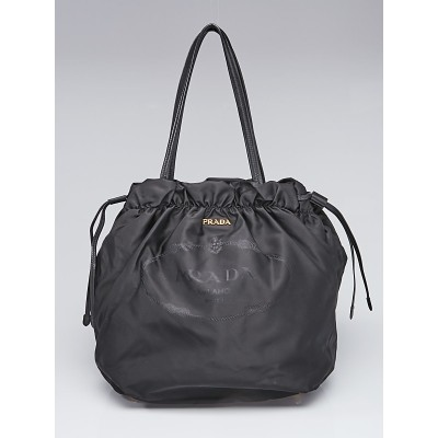 Prada Black Tessuto Nylon Drawstring Tote Bag