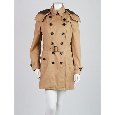 Burberry Britt Tan Cotton Double Breasted Coat Size 6
