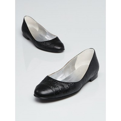 Chanel Black Crinkled Leather Cap Toe Flats Size 7.5/38