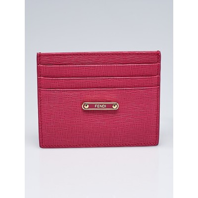Fendi Pink Textured Leather Card Case