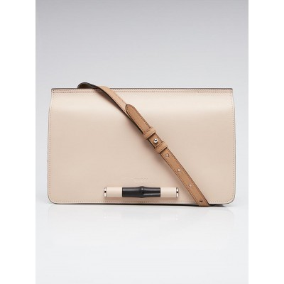 Gucci Taupe Leather Lady Bamboo Flap Bag