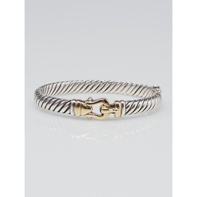 David Yurman Sterling Silver and Gold Plated Cable Buckle Bracelet