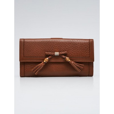Gucci Brown Leather Bamboo Tassel Bella Continental Wallet