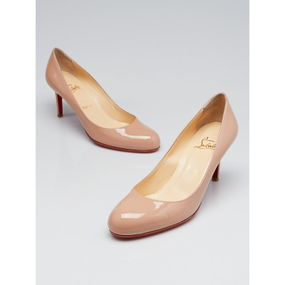 Christian Louboutin Nude Patent Leather Simple 70 Pumps Size 10/40.5