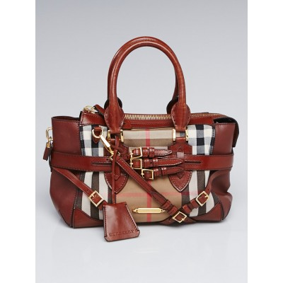 Burberry Leather Bridle House Check Canvas Small Tote Bag