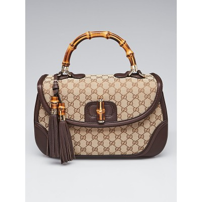 Gucci Beige/Ebony GG Canvas and Leather Large New Bamboo Top Handle Bag