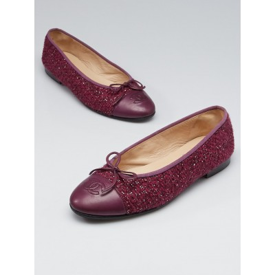 Chanel Purple Tweed and Leather CC Cap-Toe Ballet Flats Size 7.5/38